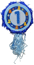 "18"" Metallic Pull Ribbon Pinata-Boys First Birthday"