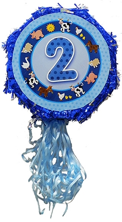 "18"" Metallic Pull Ribbon Pinata- Boys Second Birthday"