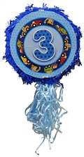 "18"" Metallic Pull Ribbon Pinata- Boys Third Birthday"