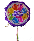 "18"" Metallic Pull Ribbon Pinata- Happy Bday Balloons 1"