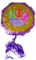 "18"" Metallic Pull Ribbon Pinata- Happy Bday Balloons 2"