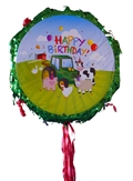 "18"" Metallic Pull Ribbon Pinata- Farm Animals"