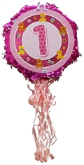 "18"" Metallic Pull Ribbon Pinata-Girls First Birthday"