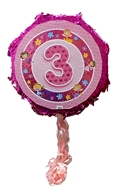 "18"" Metallic Pull Ribbon Pinata- Girls Third Birthday"