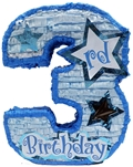 "Premium 20"" Boy's Third Birthday Pinata"