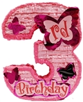 "Premium 20"" Girl's Third Birthday Pinata"
