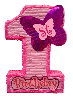 "Premium 30"" First Birthday Pink Pinata"